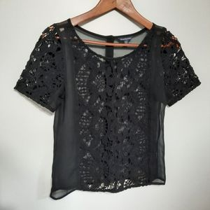 American Eagle Black Lace Open Back Top